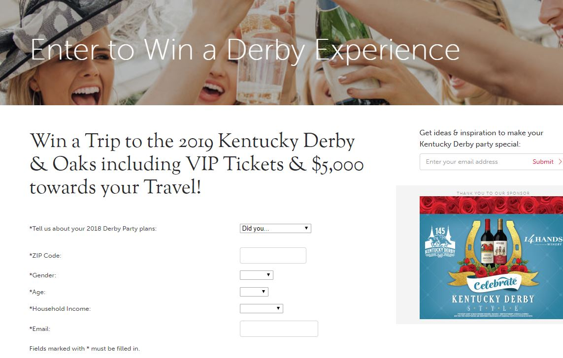 Entry codes for kentucky derby sweepstakes